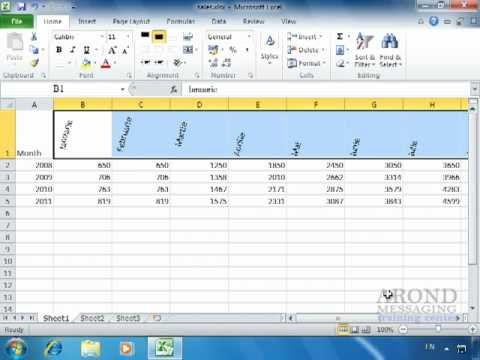 Using excel 2010 rotate text within a cell youtube for Table header rotate th rotate 45