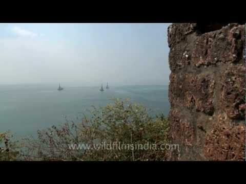 Offshore oil drilling as seen from Fort Aguada, Goa