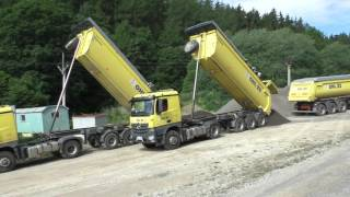 Mercedes Arocs trucks and Iveco Stralis with trailers