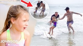 PEYTON GOES SURFING! 🏄🏼‍♀️ Crash and Falls in the Ocean