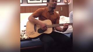 Manny Pacquiao Right After Matthysse FIGHT Show Skills On Guitar