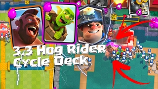 Clash Royale - AMAZING UNDEFEATED 3.3 HOG RIDER & MINER CYCLE DECK TOURNAMENT DECK! (Arena 9 & 10)