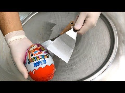 MAXI kinder Surprise Egg - Ice Cream Rolls | Opening, unboxing and how to make Ice Cream | ASMR