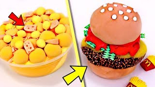 SATISFYING Slime Food CREATIONS! Cheese Slime! Burger Slime! Difficult Food Slime CHALLENGE!