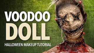 Voodoo doll Halloween makeup tutorial