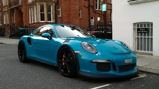 Miami blue Porsche 911 GT3RS startup and driving around.