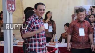 Indonesia:  Purnama 'Ahok' casts his vote in Jakarta governor elections