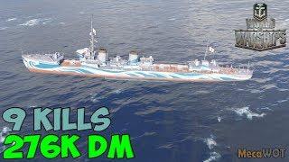 World of WarShips | Kamikaze R | 9 KILLS | 276K Damage - Replay Gameplay 1080p 60 fps