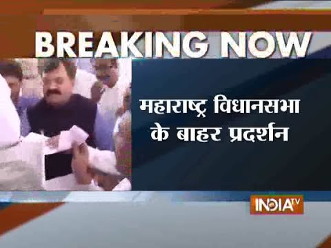 Congress, NCP protest outside Maharashtra Assembly over Muslim reservation