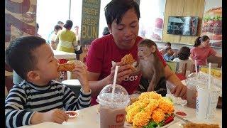 Baby Monkey   Doo Eats KFC Fried Chicken At Supermarket