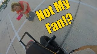 Lady Angry At Motorcycle!