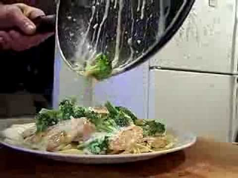 Chicken Wine Alfredo with Broccoli and Tomato on Linguini 1/2 Chef John The Ghetto Gourmet Show