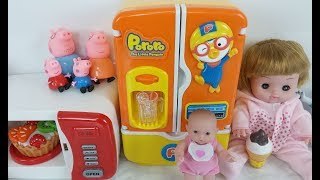 Baby doll kitchen and refrigerator food toys Slime, water clay mix bayi boneka dapur kulkas mainan