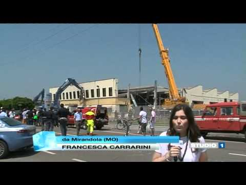 Terremoto in diretta a Mirandola (Modena) 29 maggio 2012 - Studio1 - Canale 80