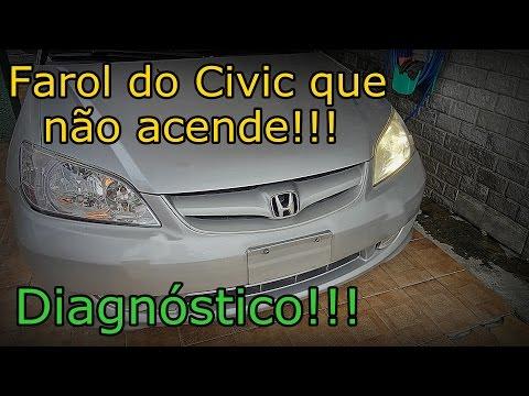 Honda Civic - FAROL NÃO ACENDE - Diagnóstico - FVM