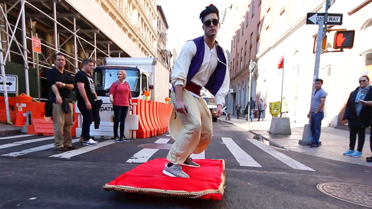 [Pranksters Stun NYC Passersby With Aladdin And His Magic Carpet] Video