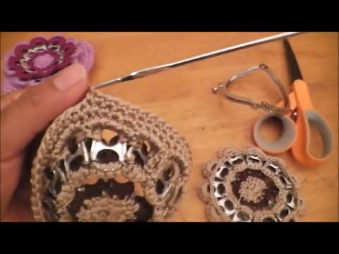 Cómo hacer un monedero con anillas en forma de flor y con boquilla parte 1