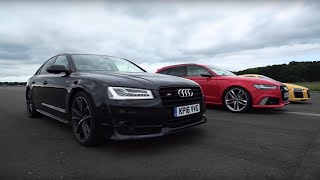 Audi Drag Race! R8 V10 Plus Vs RS6 Vs S8 | Top Gear
