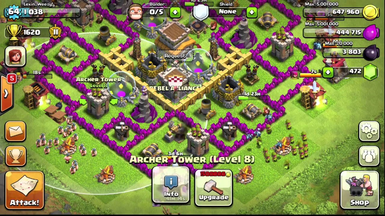 Clash of clans town hall 8 defensive base design youtube