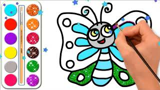 Butterfly coloring pages for kids l Drawing butter for kids & learn colors