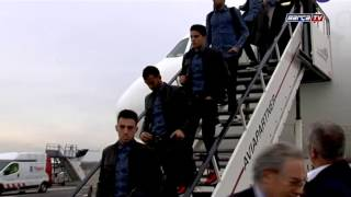 FC Barcelona team arrives in Amsterdam