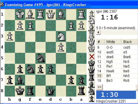 Chessworld.net : Blitz #291 vs. IM igor (2307) - Reti opening (A04) (Chessworld.net)