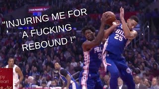 Joel Embiid Gets MAD At Ben Simmons For Trying To Steal His Rebound!