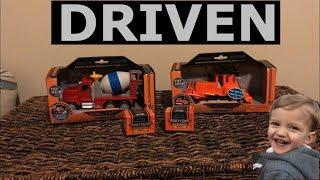 Battat Driven Bulldozer and Cement Mixer truck review! Pocket series surprise trucks!