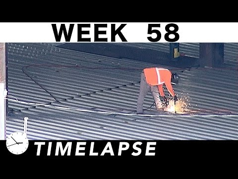One-week construction time-lapse with over 32 closeups: Week 58: Ironworkers; welders; cranes; more