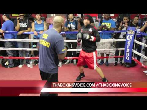 PAULIE MALIGNAGGI DOING MITT WORK WITH ERIC BROWN
