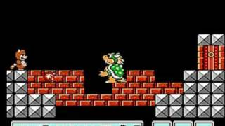 Super Mario Bros. 3 - Bowser Koopa beaten with Tanooki Suit