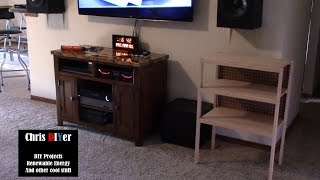 DIY homemade oak stereo audio/visual shelf-stand-cabinet (subwoofer will go underneath)