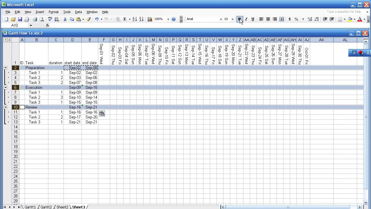 gantt chart with excel in 5 minutes part 1  2