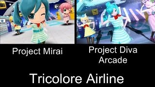 Project Mirai Tricolore Airline PV Comparison 3DS Arcade