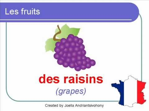 French Lesson 23 -  FRUITS Food Vocabulary - LES FRUITS Vocabulaire Frutas en francés