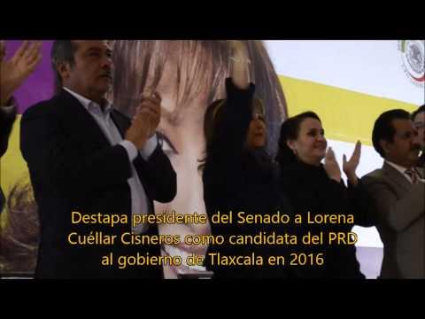 El Presidente del Senado, Miguel Barbosa destapó a la Senadora Lorena Cuéllar Cisneros como candidata del PRD al gobierno de Tlaxcala para 2016.