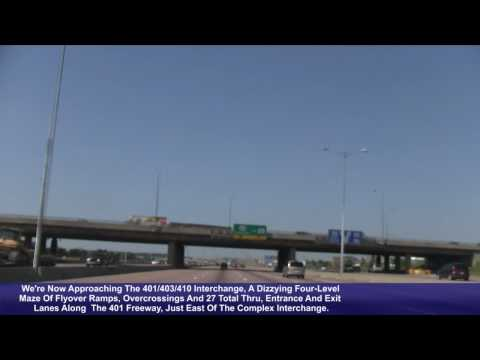 This video follows Ontario Hwy 401 West, from Exit 357 to Exit 336. Includes footage of the sprawling 401/427 &amp; 401/403/410 interchanges, as well as what may...