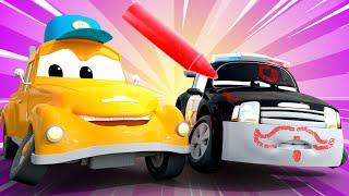 Xe CẢNH SÁT Matt bị vẽ sơn khắp người - Tiệm Rửa Xe của Xe Tải kéo Tom | Phim hoạt hình về xe dàn...