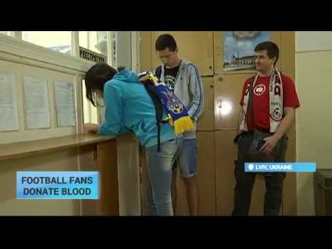 Football Fans Donate Blood: Ukraine's and Belarus's teams fans united in donating blood to soldiers