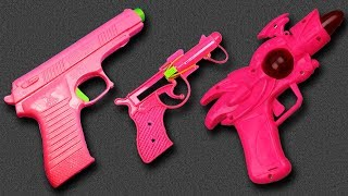 3 Pink Colored Mini Toy Guns with Box of Toys – Many Colorful Toy Guns Toys with Learn Colors Video