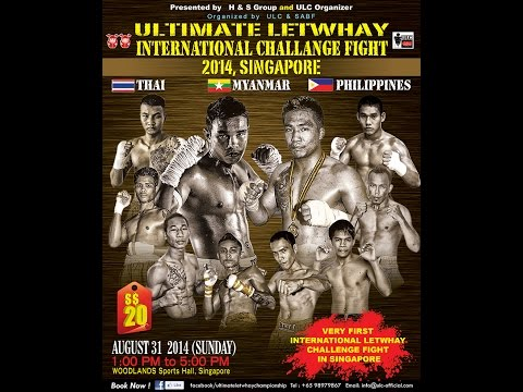 HTET AUNG OO (MYANMAR - RED) vs JESUS (PHILIPPINES - BLUE) ULC Letwhay Fight 2014, Singapore