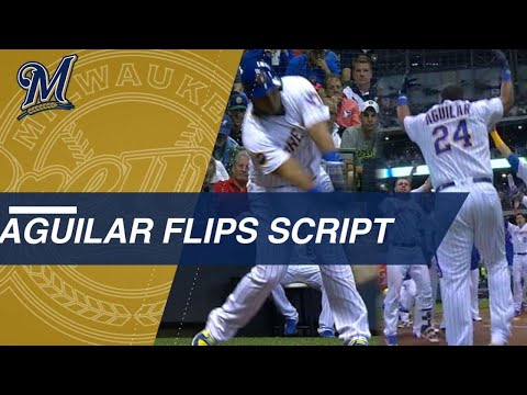 Aguilar flips script carries Brewers to walk-off win