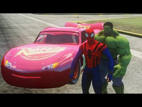 Hulk, Spiderman Marvel comics & Flash McQueen Disney cars 2 | Dessin animé pour enfants