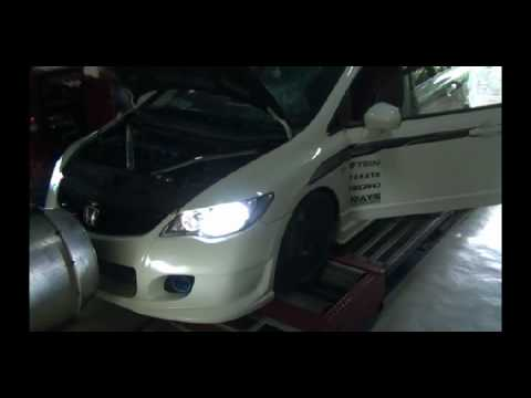123.4 FWHP - Dyno tuning Dastek Unichip Q on Honda Civic FD1 R18 Engine.
