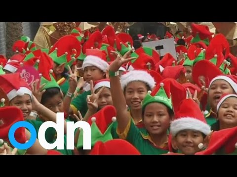 Santa's little helpers break world record in Bangkok