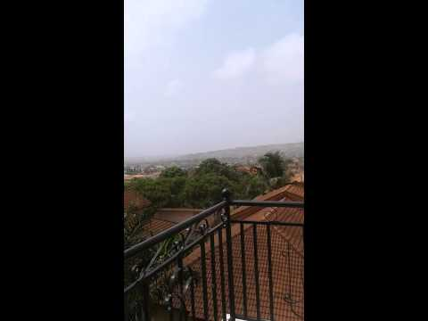 view from top balcony at family's Accra house
