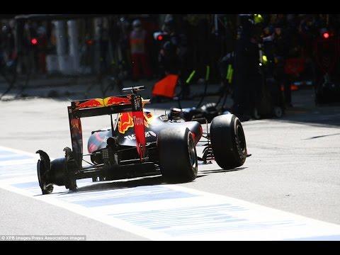RICCIARDO PUNCTURE ONBOARD SPANISH GP 2016