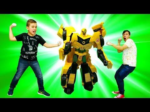 Фёдор и Глеб в Супер Челлендже без рук. Игрушки Трансформеры.