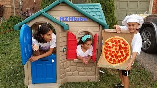 Pretend Play Pizza Delivery to our Playhouse from Food Truck!