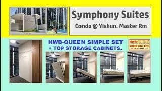 Symphony Suites HiddenWallBed HWB-Queen Simple Set+Storage Top Cabinets.HWB HUB.HDB.BTO.EC